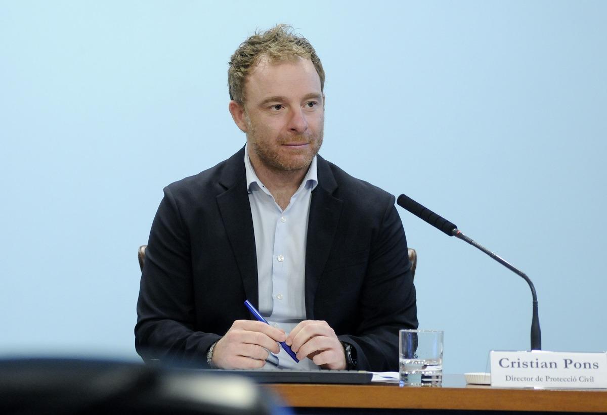 El director de Protecció Civil, Cristian Pons, en la compareixença d'aquesta tarda.