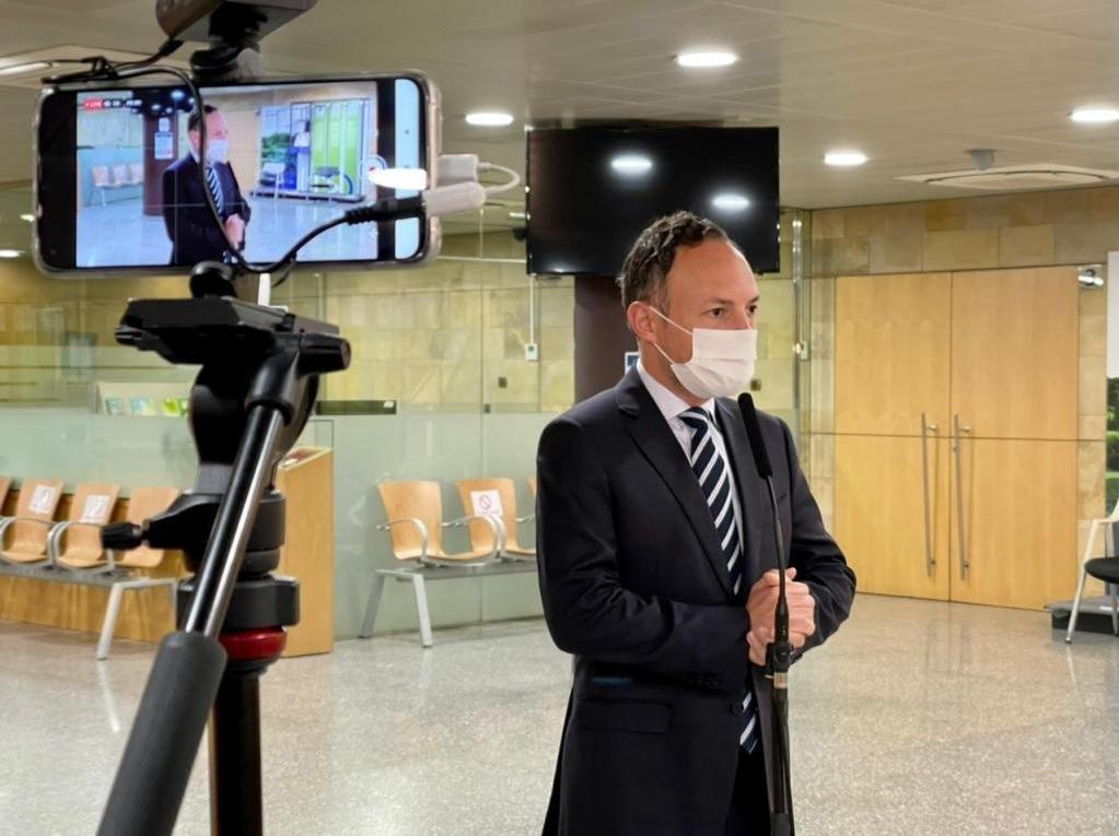 El cap de Govern, Xavier Espot, en la compareixença d'aquesta tarda davant la premsa.