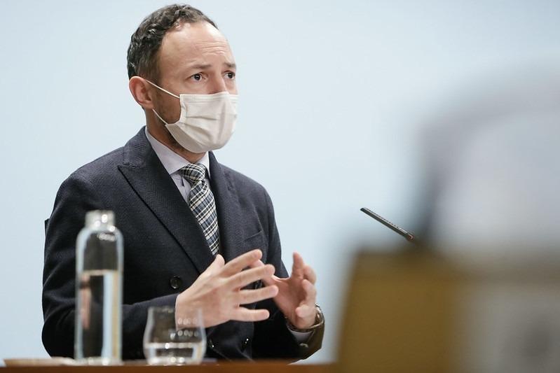 El cap de Govern, Xavier Espot, durant la compareixença de la tarda.