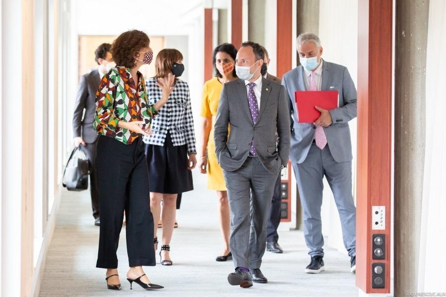 El cap de Govern amb la directora general de la Unesco, Audrey Azoulay.