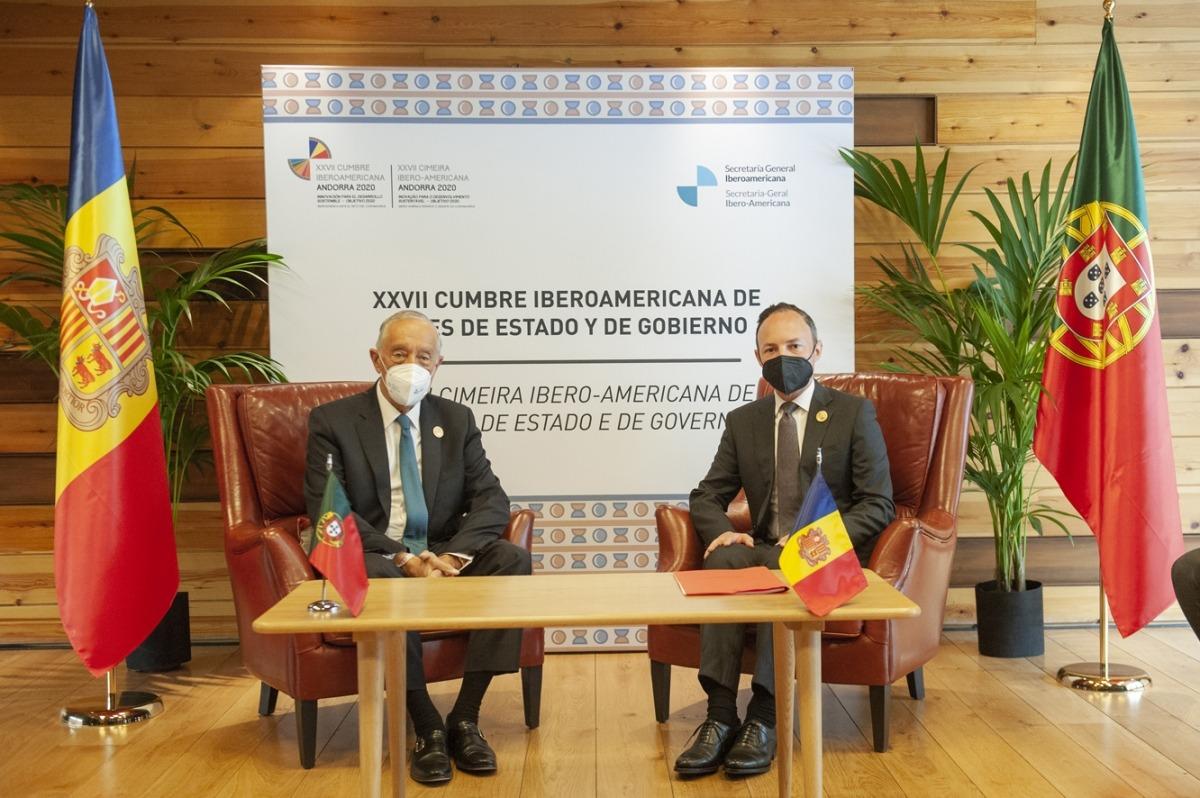 El cap de Govern, Xavier Espot, i el president de Portugal, Marcelo Rebelo de Sousa.