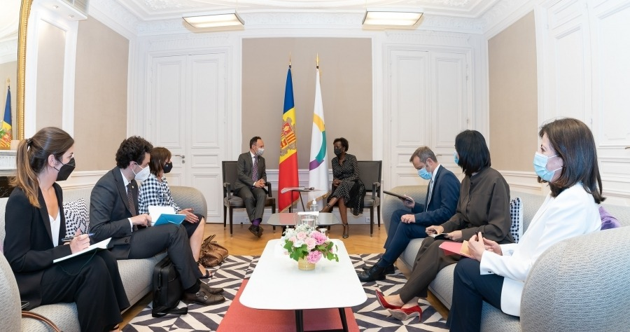 La trobada d'Espot amb la secretària general de la Francofonia, Louise Mushikiwabo.