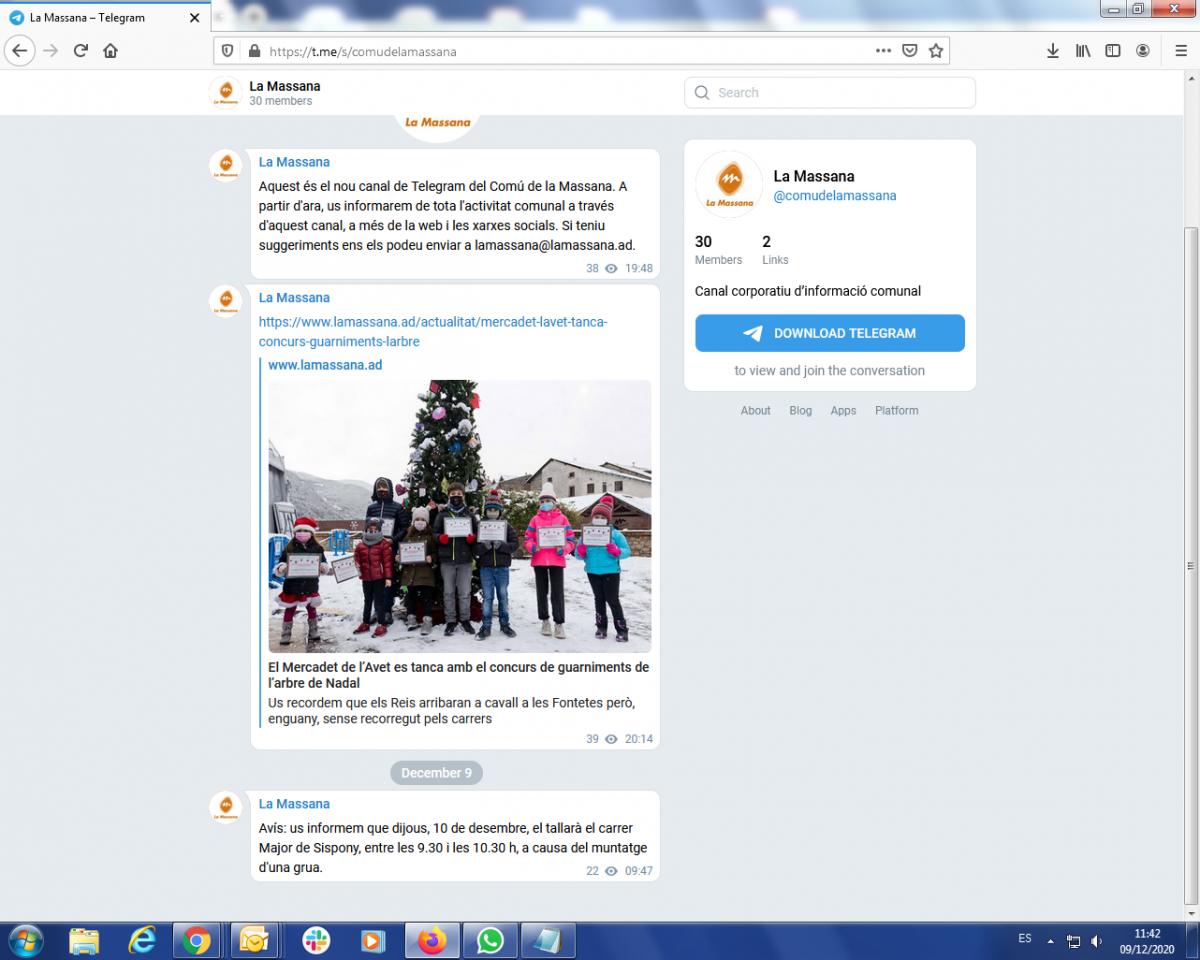 Captura de pantalla del canal de Telegram de la Massana.