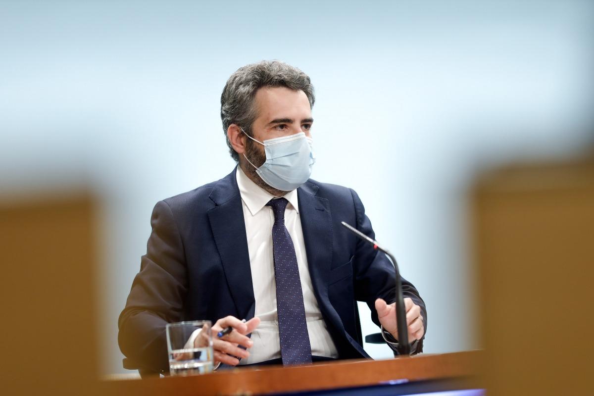 El ministre de Finances, Eric Jover, durant la compareixença conjunta amb la cap de missió per Andorra de l'FMI.