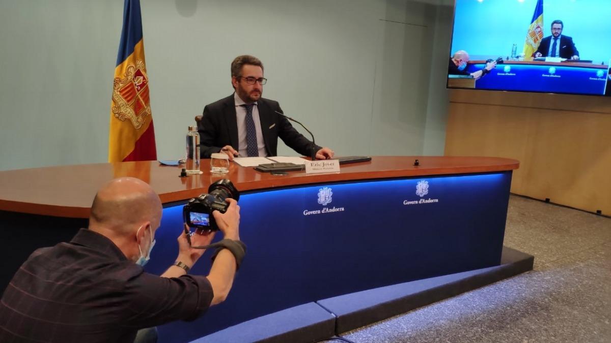 El ministre Eric Jover durant la roda de premsa d'aquesta tarda.