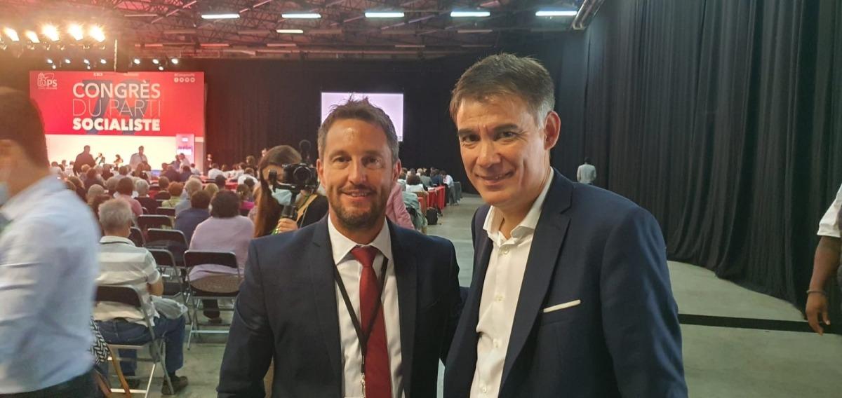 El president del PS, Pere López, amb el lídel de PS francès, Olivier Faure.
