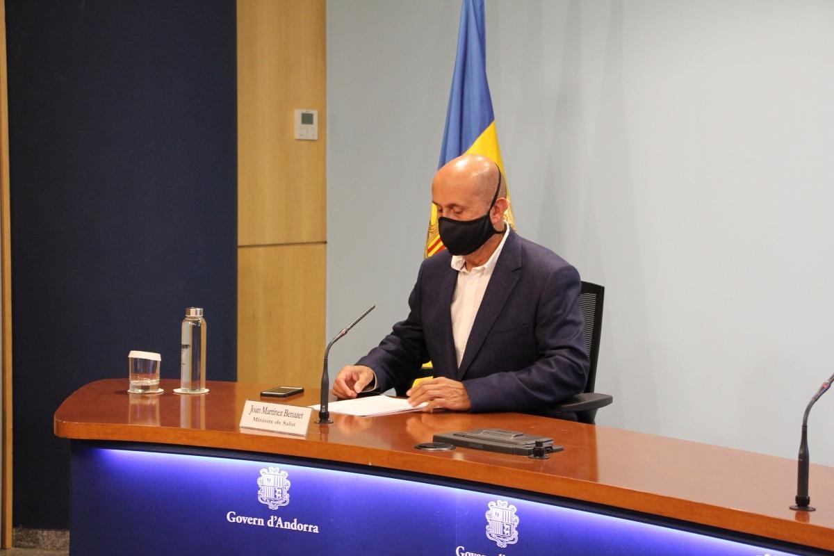 El ministre de Salut, Joan Martínez Benazet, en una roda de premsa d'actualització de les dades sanitàries.