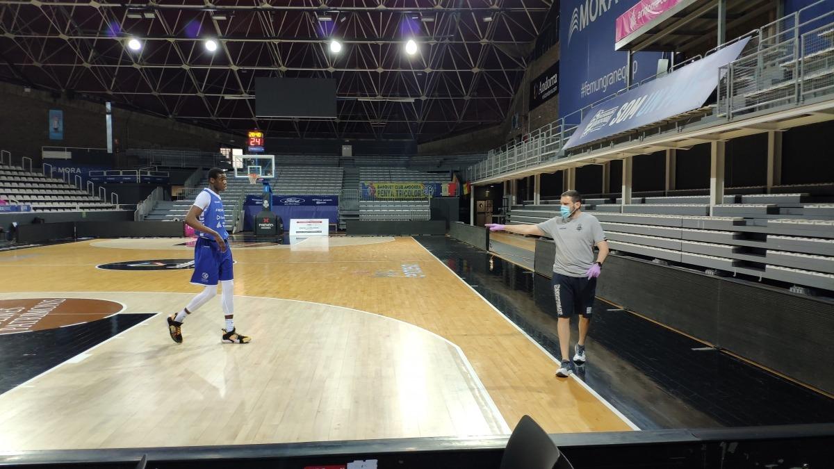 Moussa Diagne, en un dels entrenaments d'aquesta setmana al Poliesportiu.