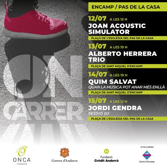 El cartell amb els concerts de l'ON-Carrer a Encamp.