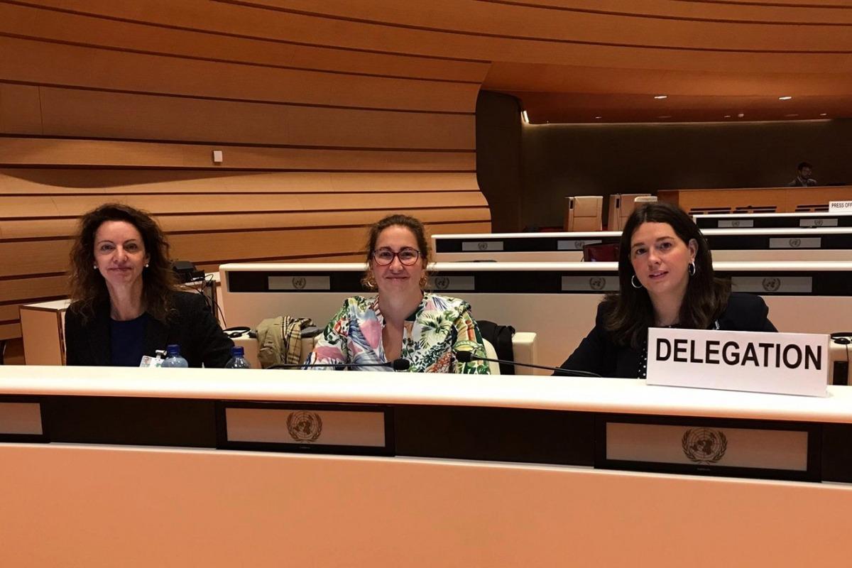 Les membres de la delegació andorrana davant del Cedaw.