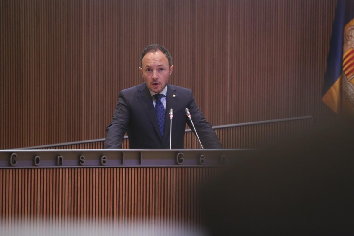 El cap de Govern en un moment del seu discurs en la primera sessió del debat d'orientació política.