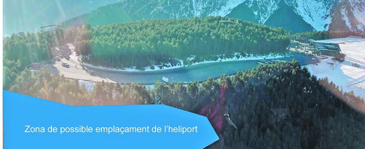 La zona blava és la que ocuparia l'heliport nacional de la Caubella.