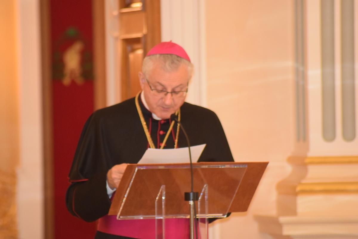 El copríncep episcopal, Joan-Enric Vives, en un moment del seu discurs durant la recepció de Nadal a les autoritats.