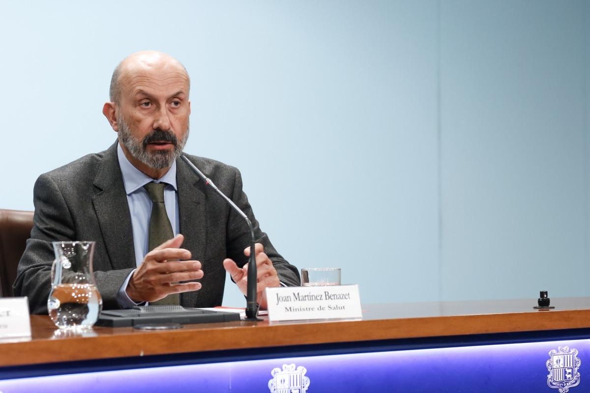 El ministre de Salut, Joan Martínez Benazet, durant la roda de premsa posterior al consell de ministres, ahir.