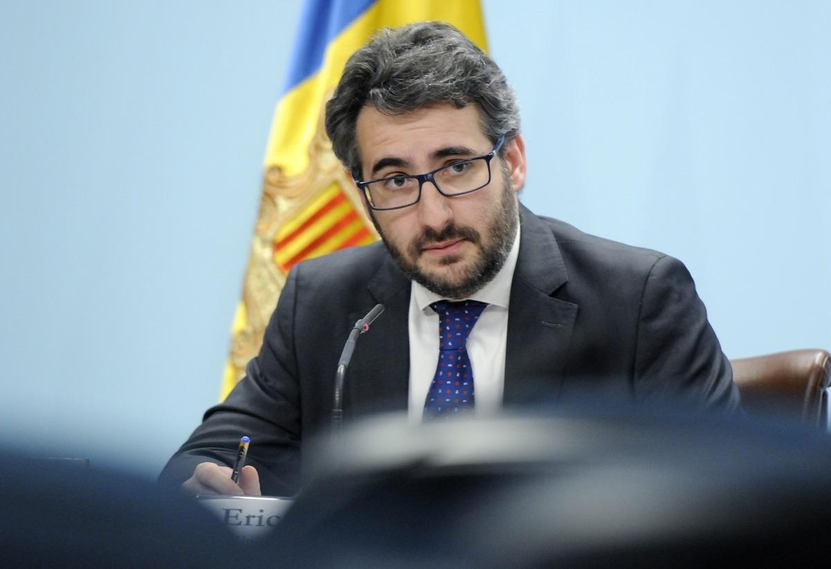 El ministre portaveu, Èric Jover, en la roda de premsa celebrada ahir.