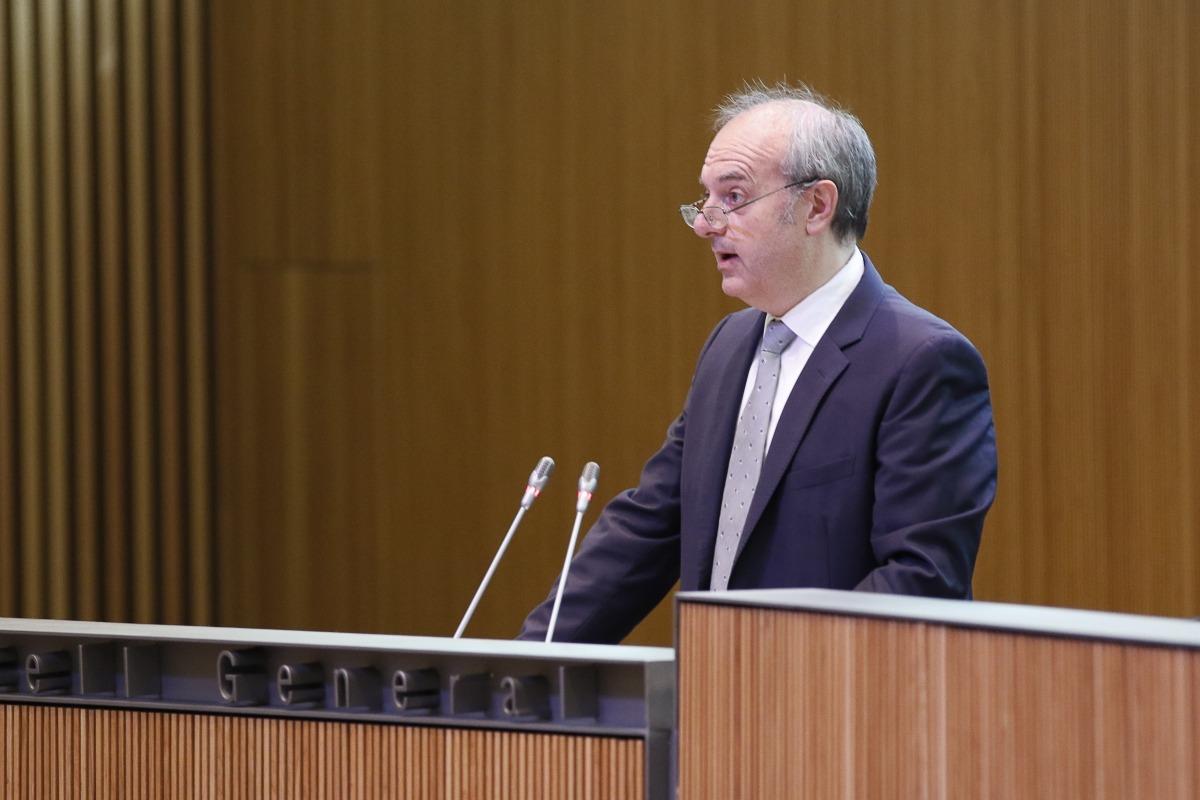 El ministre de Salut, Carles Àlvarez, en una sessió del Consell General.