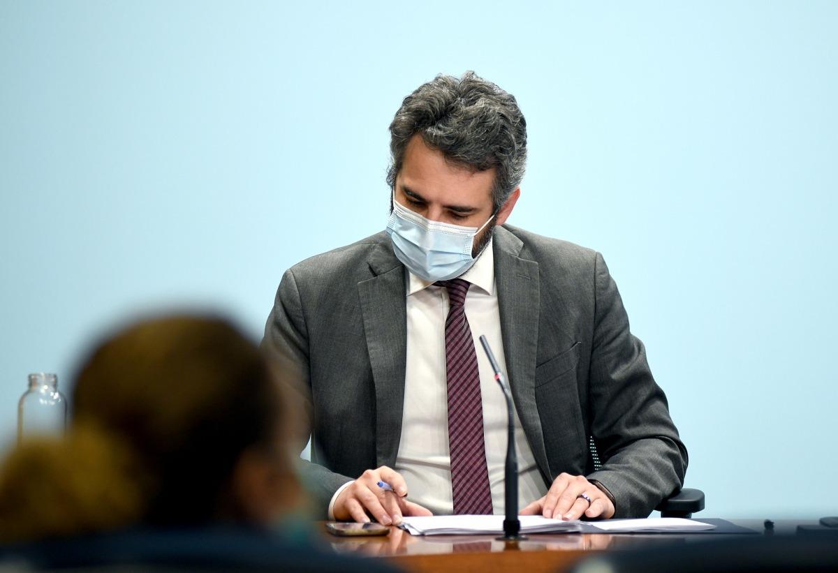 El ministre de Finances i portaveu del Govern, Eric Jover, en la compareixença d'ahir a la tarda.