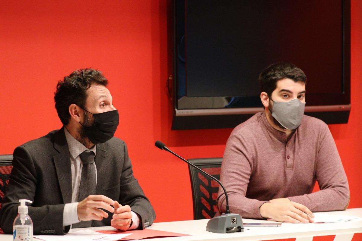 Alís i Baró han comparegut davant dels mitjans per parlar de les ajudes socials d'Escaldes-Engordany.