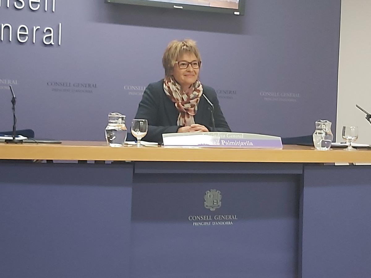 La subsíndica Meritxell Palmitjavila en la compareixença posterior a la junta de presidents d'ahir.