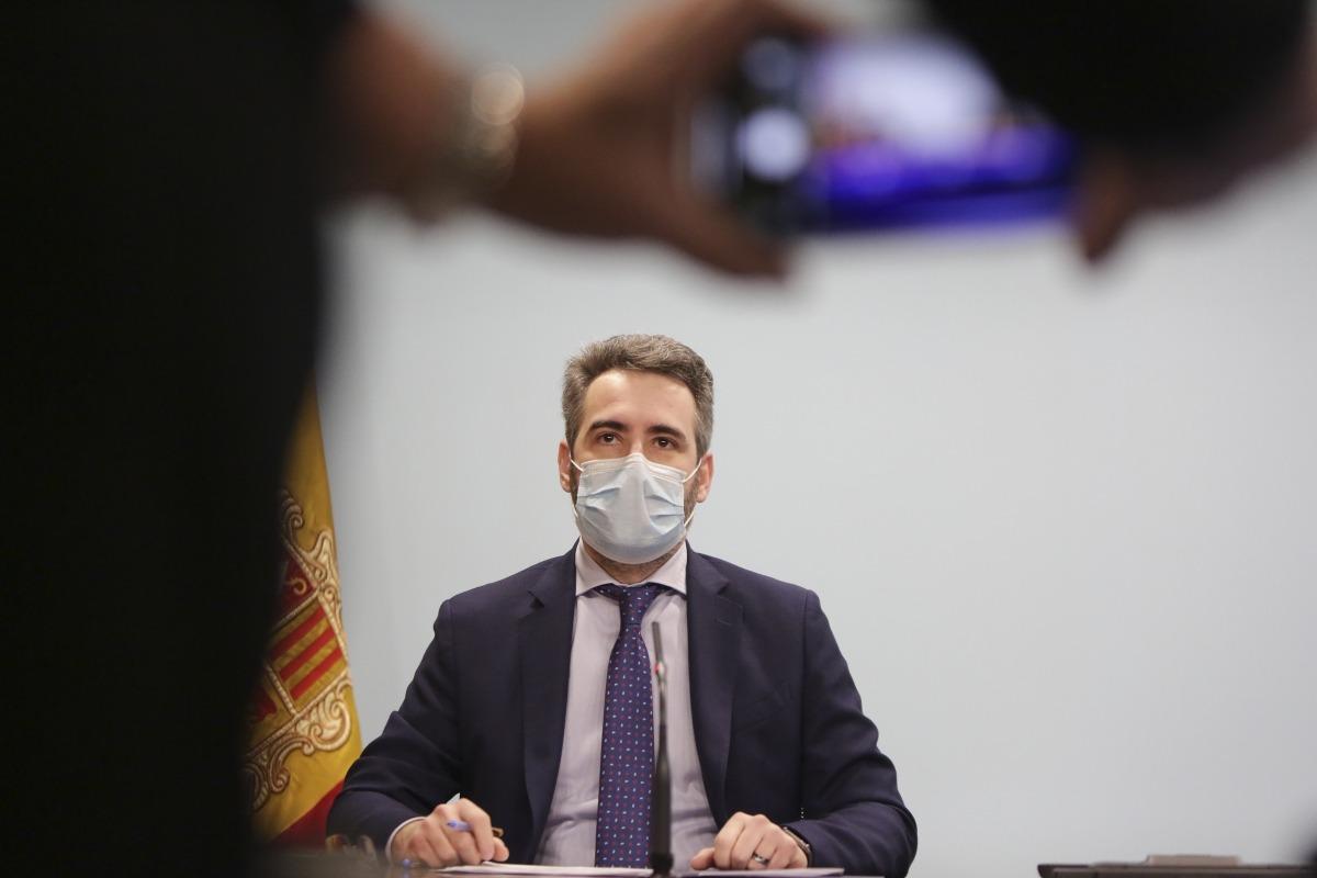 El ministre portaveu, Eric Jover, durant la roda de premsa d'ahir a la tarda.