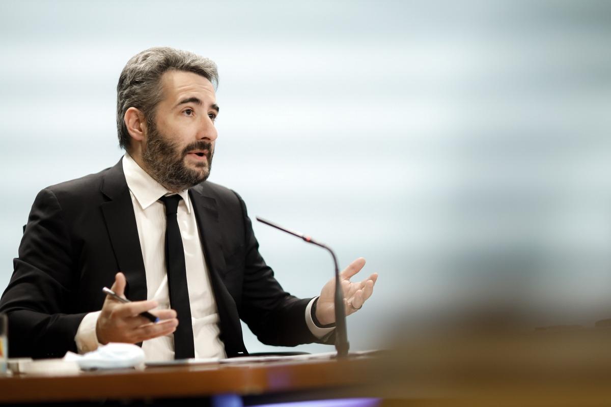 El ministre de Finances i portaveu de l'Executiu, Eric Jover, en la compareixença d'ahir.