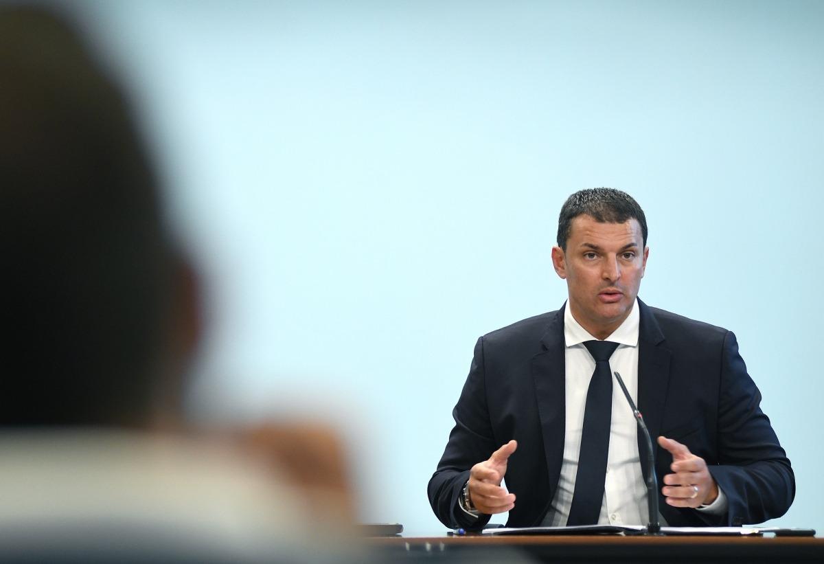 El titular de Presidència, Economi i Empresa, Jordi Gallardo, en la compareixença d'ahir.