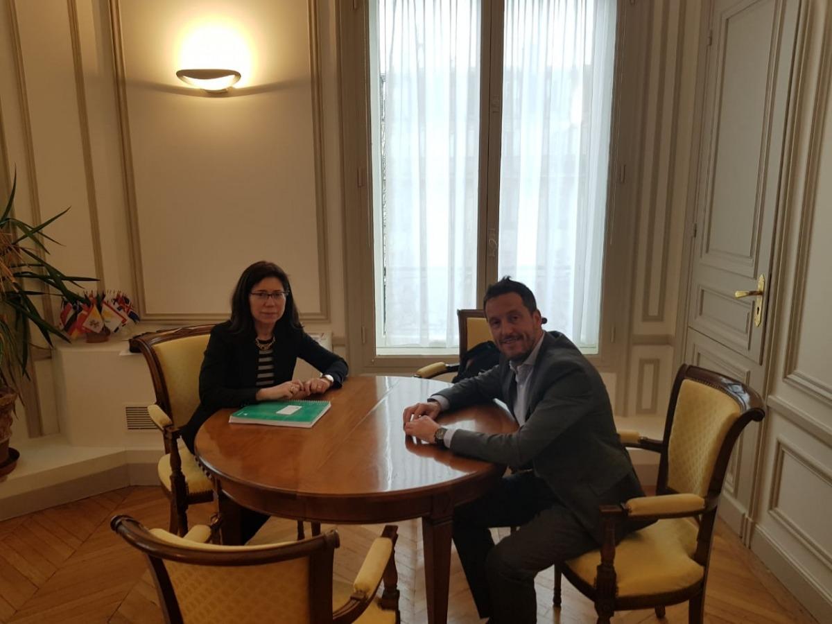 Rosa María Sánchez-Yebra i Pere López en la trobada d'ahir.