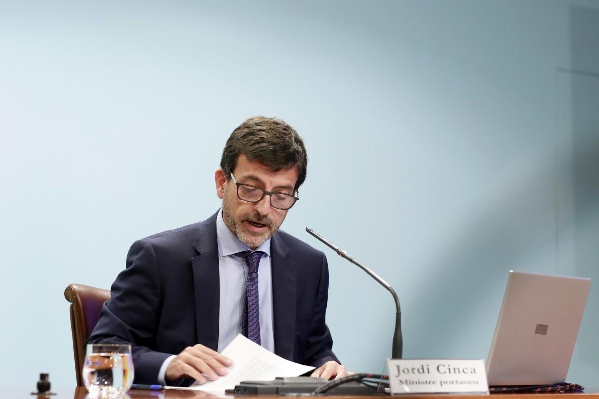 El ministre portaveu, Jordi Cinca, durant la roda de premsa posterior al consell de ministres, ahir.