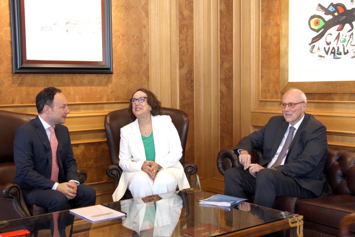 El cap de Govern, Xavier Espot, i la secretària general Iberoamericana, Rebeca Grynspan, en la trobada del juliol passat.