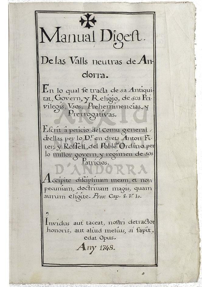 Frontispici del 'Manual Digest' original, procedent de l'Armari de les Sis Claus.