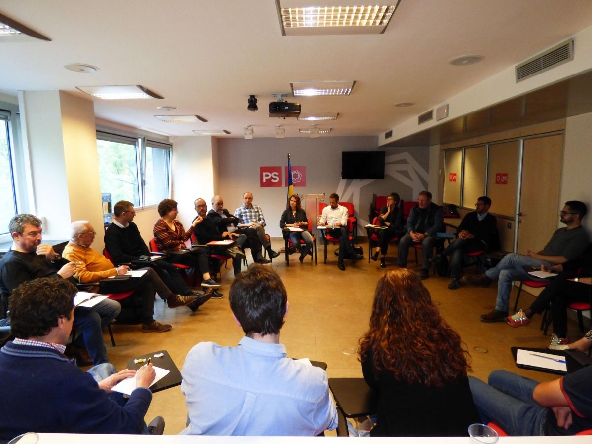Un moment de la reunió del comitè directiu del PS d'aquest dissabte.