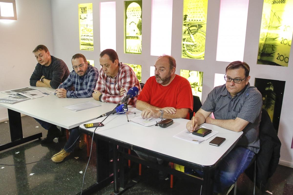 Els representants de la plataforma sindical en la compareixença que van fer després de la marxa de SEP i Sipaag de la plataforma.