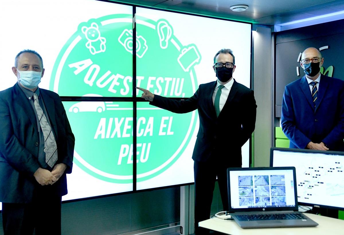 Moreno, Filloy i Bonell durant la presentació de la campanya de seguretat viària per aquest estiu.