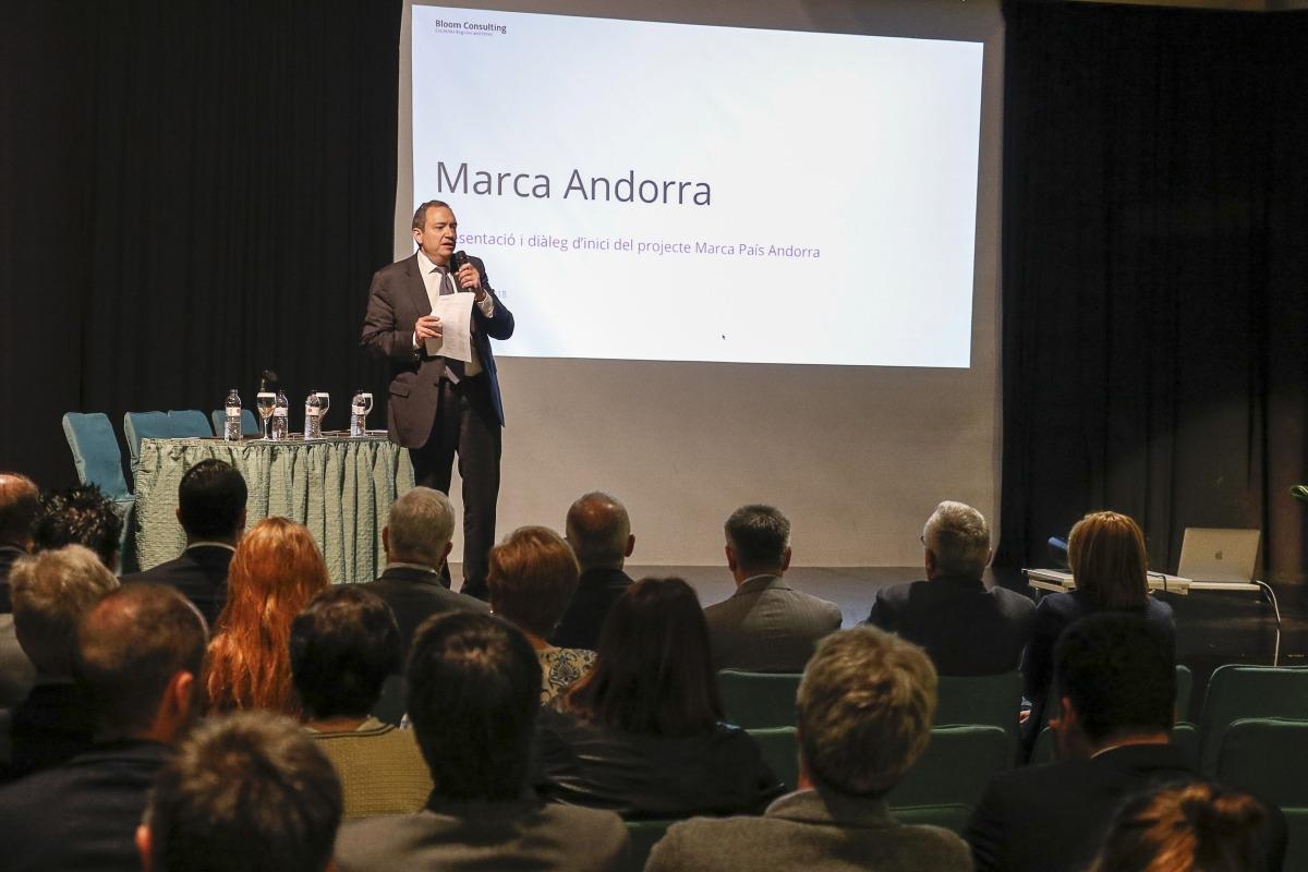Un moment de la presentació, ahir, de la Marca Andorra.