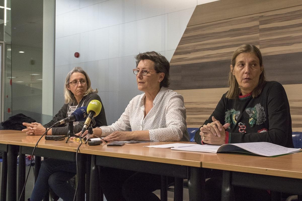 Els membres del comitè executiu del Sitca en la compareixença d'ahir.