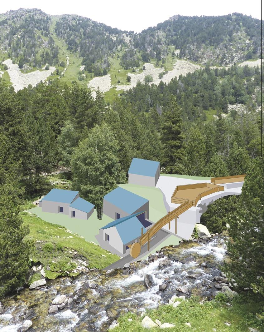 Reconstrucció hipotètica de la farga del Madriu, situada a 2.000 metres d'altura i amb els quatre edificis (martinet, casa, taller i carbonera) que constituïen el complex siderúrgic.
