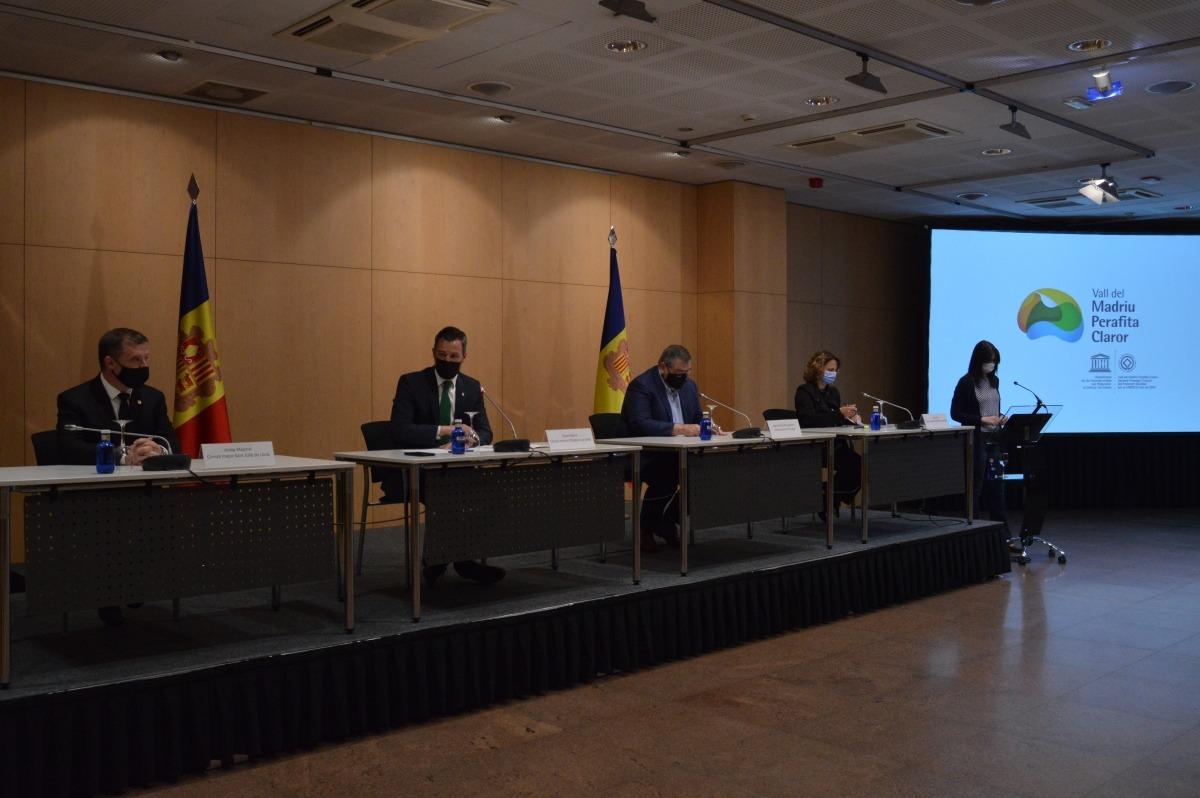 Un instant de l'acte que es va fer el maig passat per anunciar l'acord sobre l'ordinació reguladora de la vall del Madriu-Perafita-Claror.