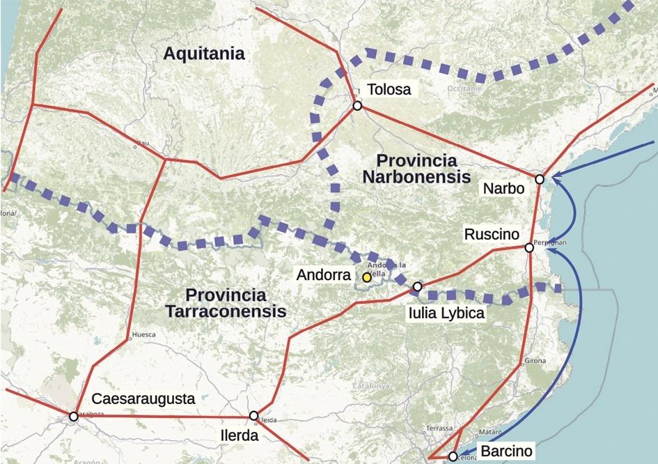 La 'strata ceretana', entre Ruscino (Perpinyà) i Lleida, era una de les principals rutes romanes que s'internaven a Hispània des de la costa mediterrània.