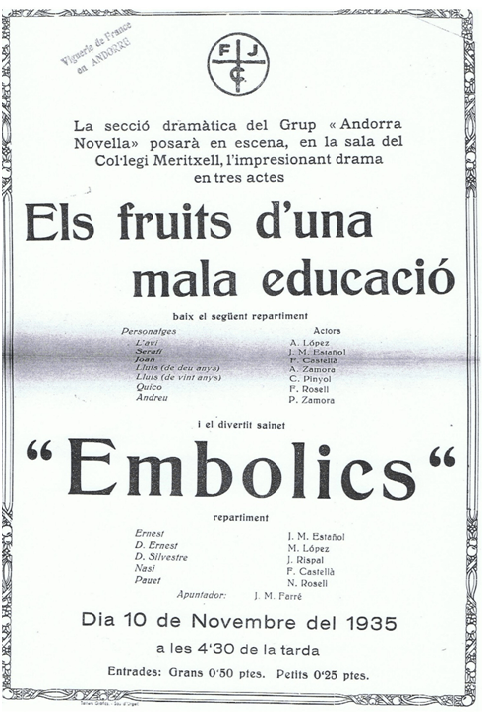 Cartell de 'L'escola laica', finalment titulada 'Els fruits d'una mala educació'.