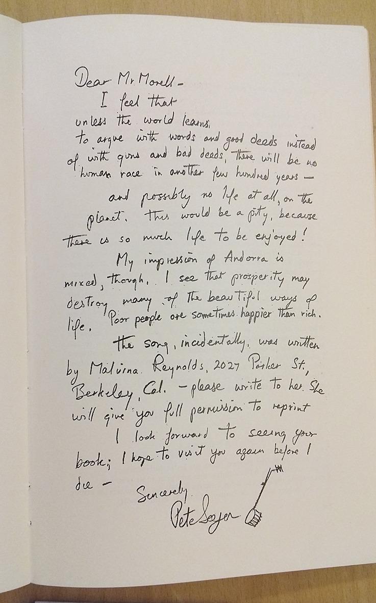 Carta autògrafa que Pete Seeger va escriure en resposta al qüestionari de Morell per a '693 anys després'.