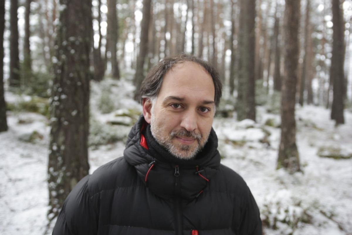 Franch, al febrer a Engolasters, en un descans del rodatge de 'El fred que crema'.
