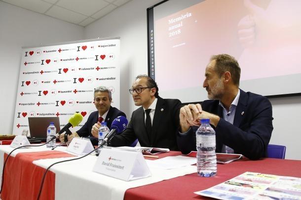 Jordi Fernández, Josep Pol i David Fraissinet en una compareixença a la seu social de la Creu Roja Andorrana.