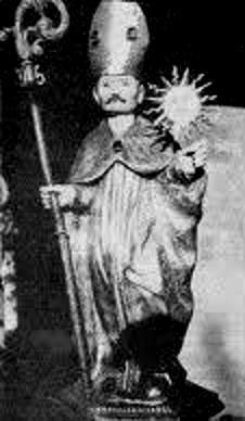 Imatge de sant Ot, el bisbe que va impulsar la construcció de l'actual catedral, amb l'astre rei a la mà.