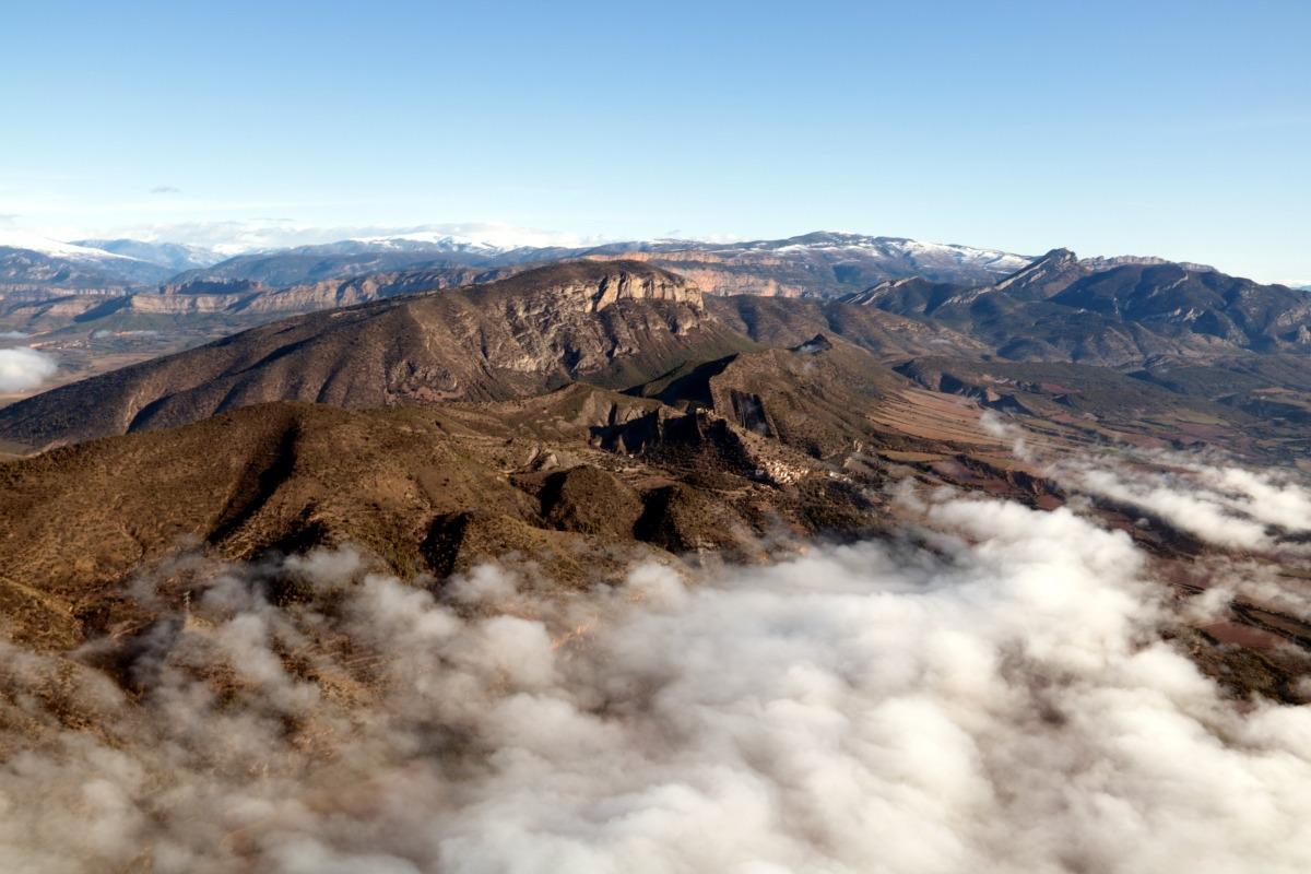 Vista aèria de la Conca de Tremp, dins de l'àmbit del Geoparc Orígens.