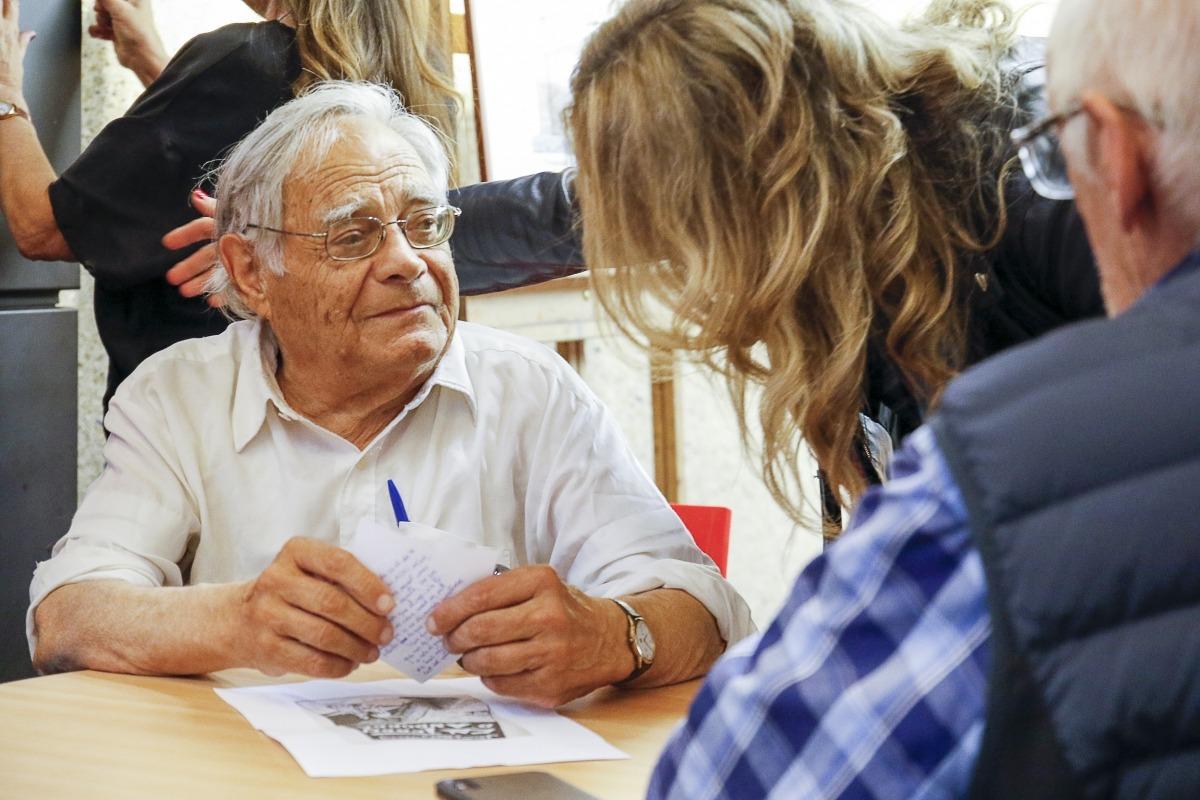 L'artista lauredià, el 2018 a La Llacuna, en la sessió que li va dedicar l'Associació d'Escriptors.