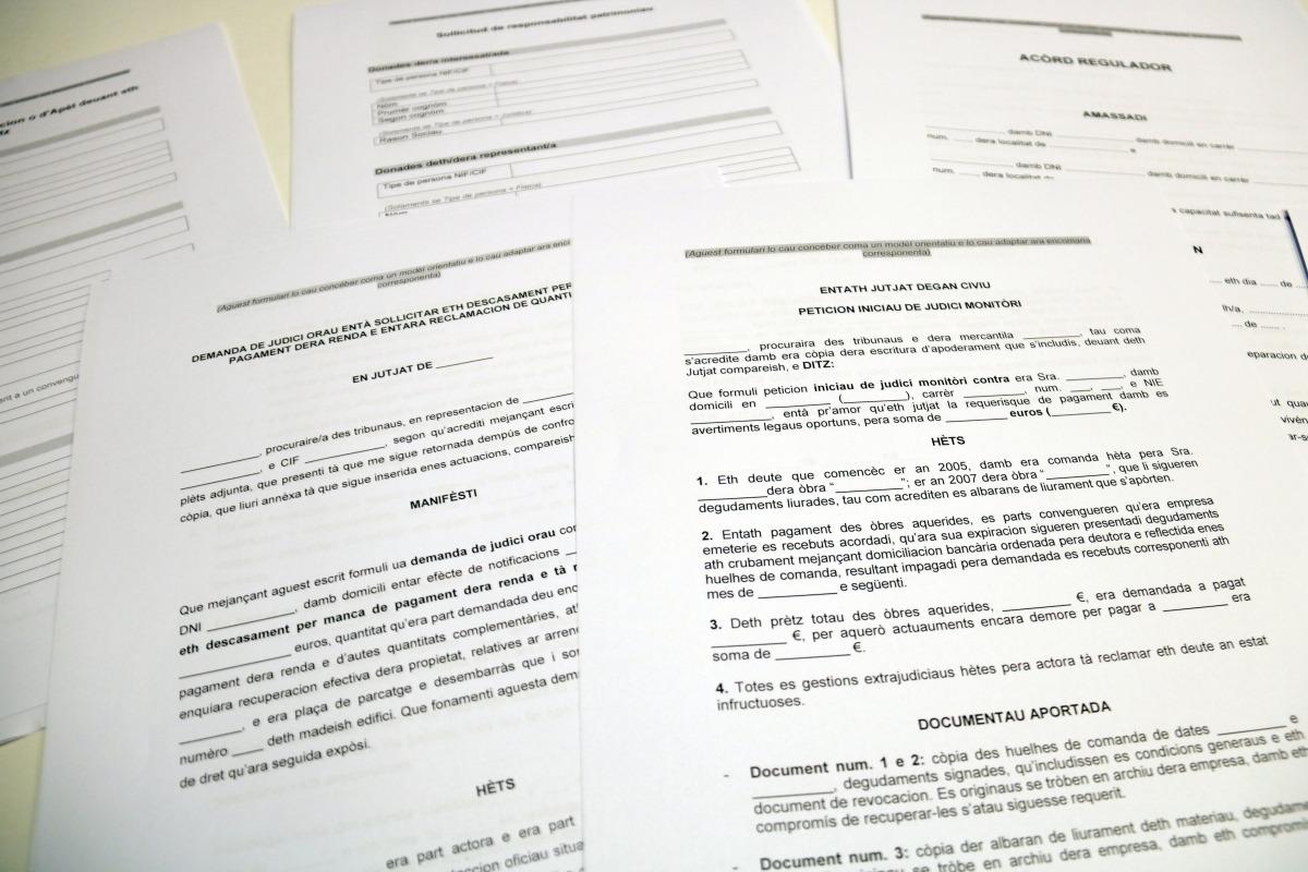 Alguns dels formularis judicials en aranès.
