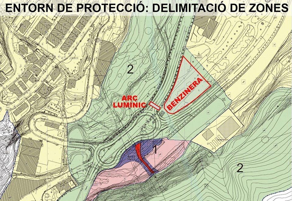 Plànol de l'entorn de protecció del pont de la Margineda: larc de leds queda al mig de la zona 2 o sensible del perímetre.