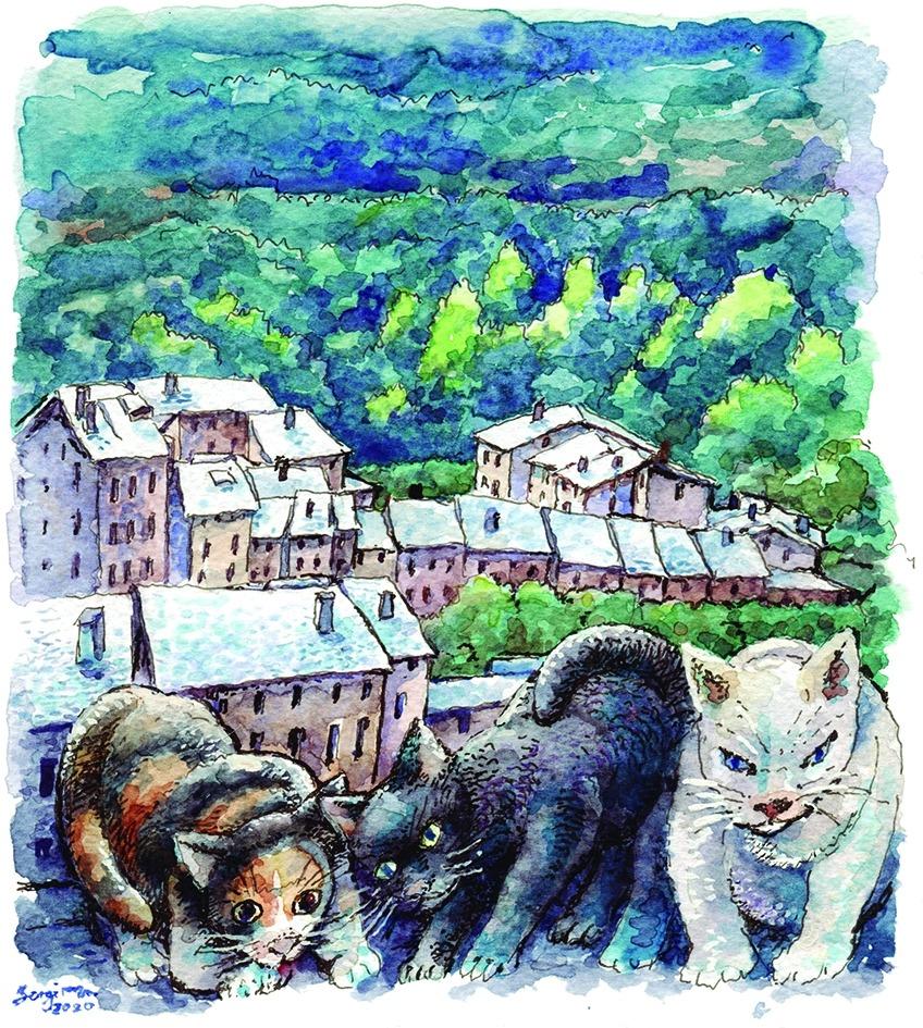 'Els gats i la callissa de Sant Julià des d'una perspectiva angular', aquarel·la inèdita inclosa a 'Hi floriran grandalles'.