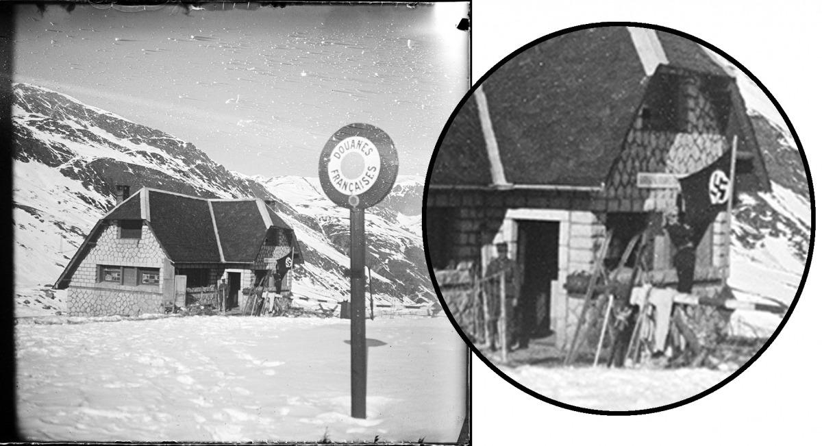 Ampliació de la foto, amb Carme Romeu, l'esvàstica i el soldat alemany a la porta de la duana.
