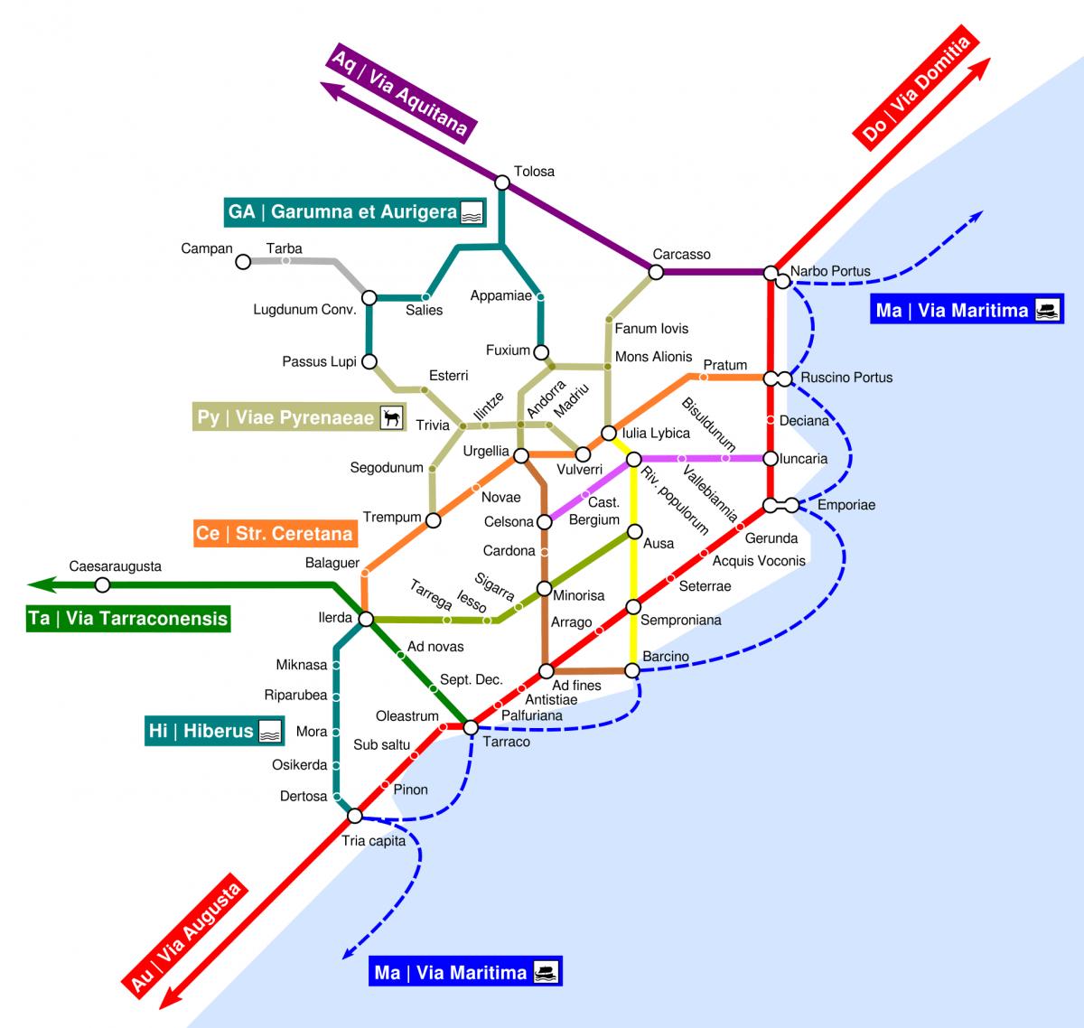 Mapa de la xarxa viària romana als Pirineus al segle I, amb el port de Ruscino (Perpinyà) com sortida natural del comerç pirinenc.